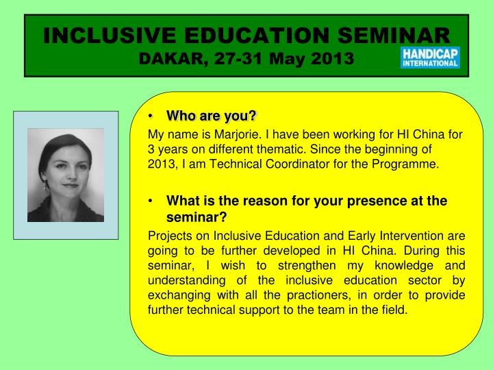 Inclusive education seminar dakar 27 31 may 20131