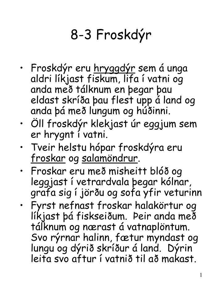 8-3 Froskdýr