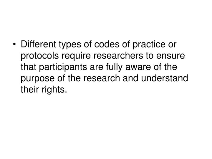 Different types of codes of practice or protocols require researchers to ensure that participants are fully aware of the purpose of the research and understand their rights.