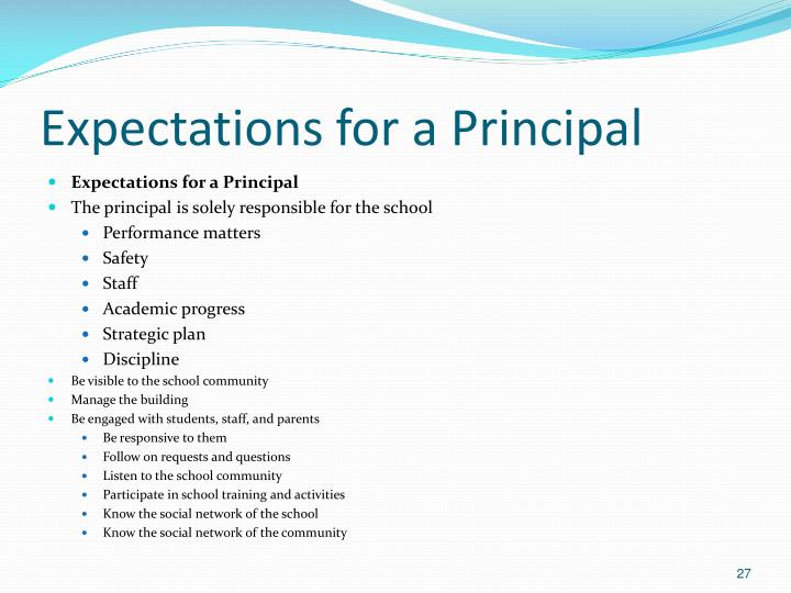 Expectations for a Principal