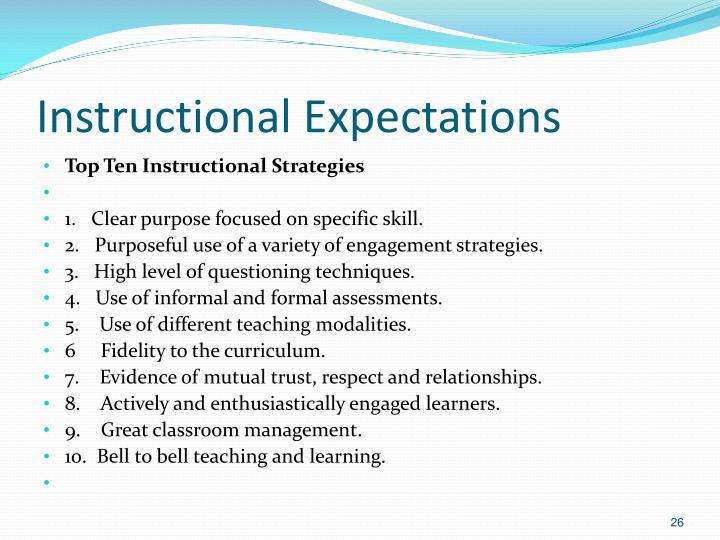 Instructional Expectations