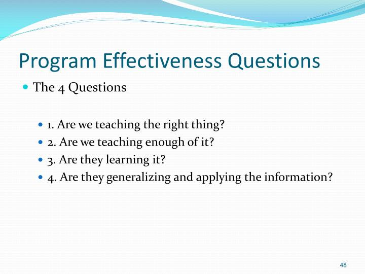 Program Effectiveness Questions