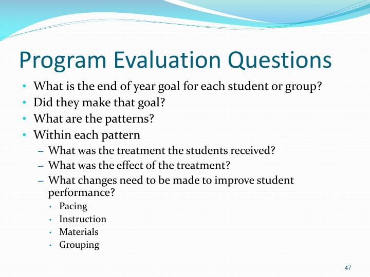 Program Evaluation Questions