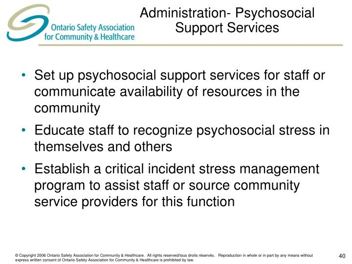 Administration- Psychosocial Support Services