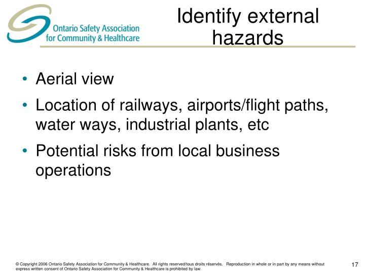 Identify external hazards