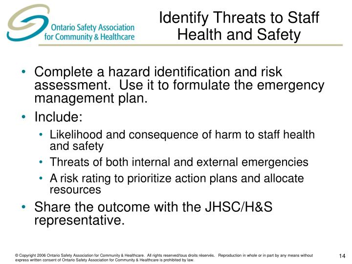 Identify Threats to Staff Health and Safety