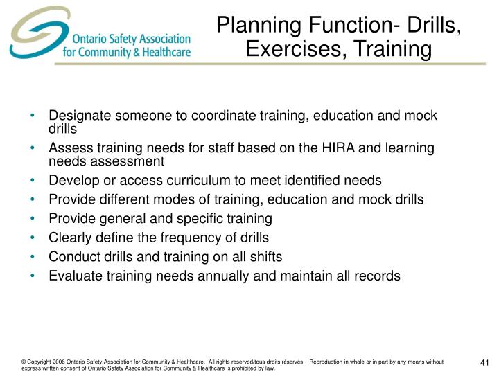Planning Function- Drills, Exercises, Training