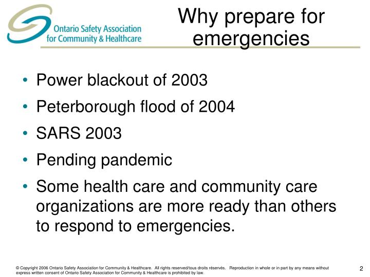 Why prepare for emergencies
