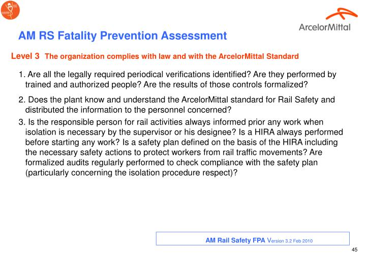 AM RS Fatality Prevention Assessment