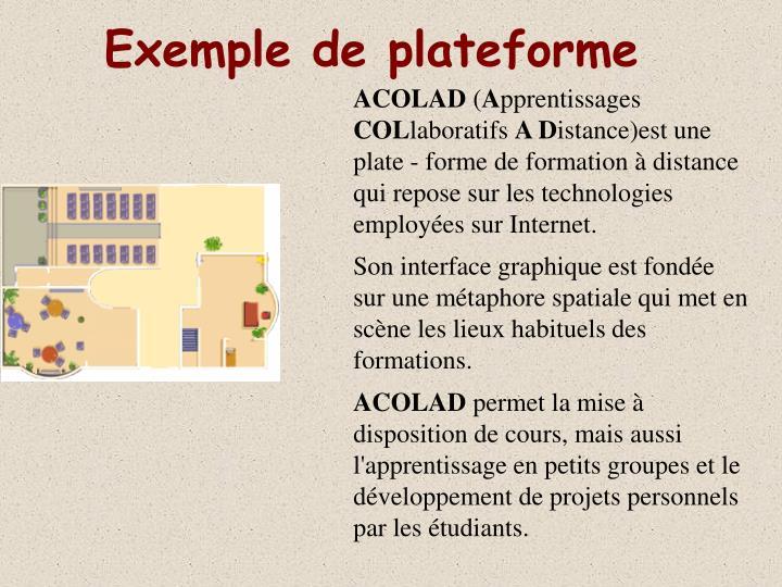 Exemple de plateforme