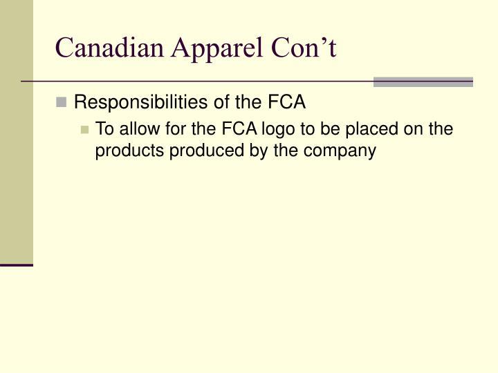 Canadian Apparel Con't