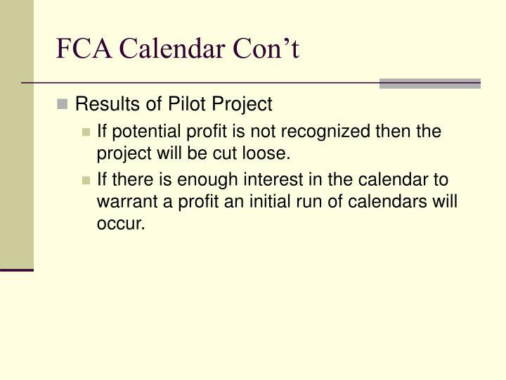 FCA Calendar Con't