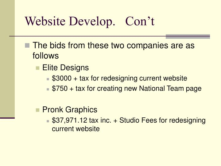 Website Develop.   Con't