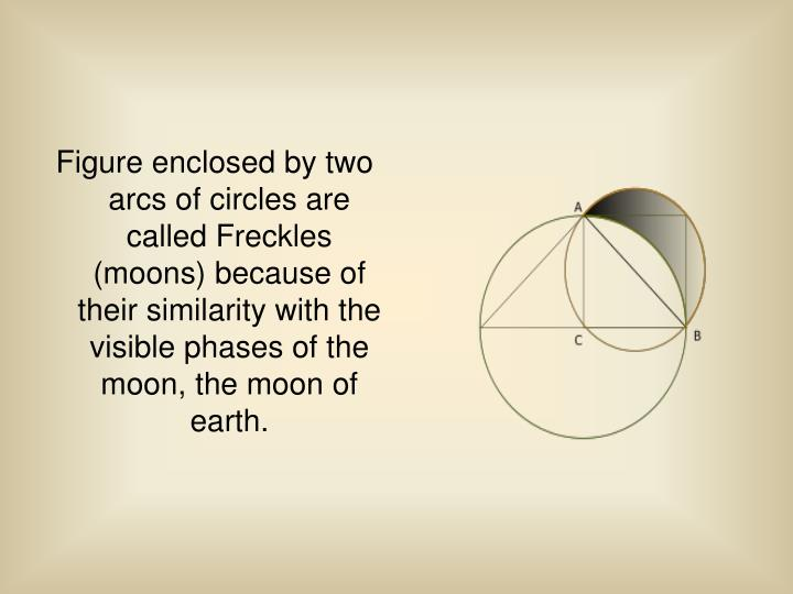 Figure enclosed by two arcs of circles are called Freckles (moons) because of their similarity with the visible phases of the moon, the moon of earth.