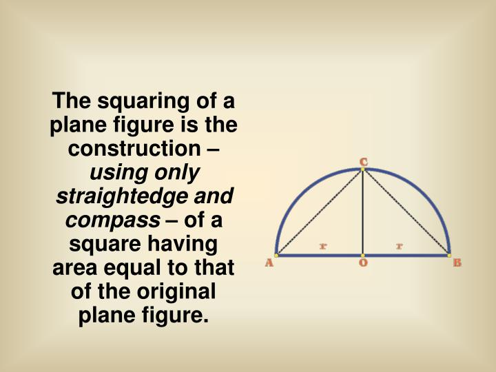 The squaring of a plane figure is the construction –