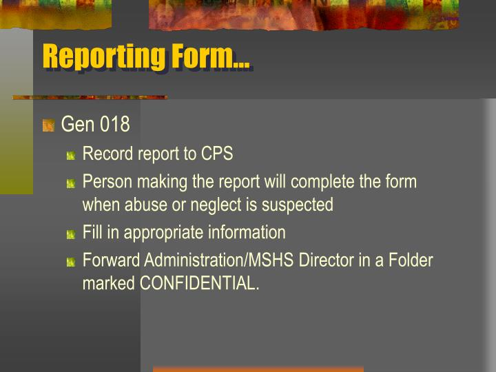Reporting Form…