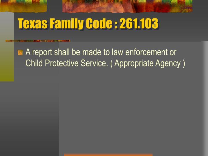 Texas Family Code : 261.103