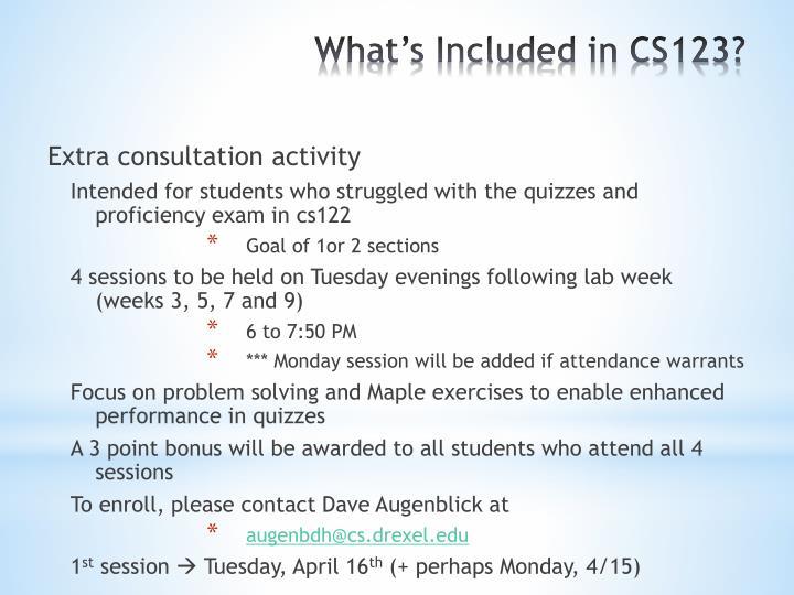 Extra consultation activity
