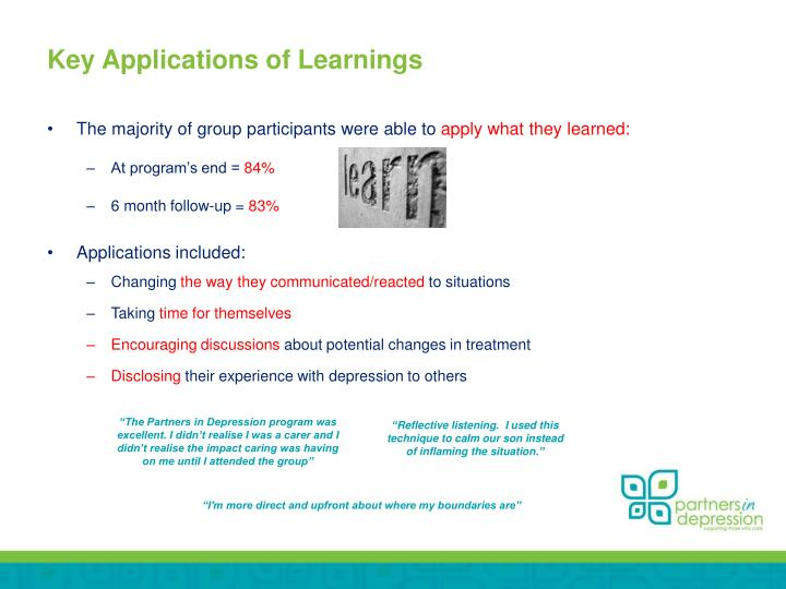 Key Applications of Learnings
