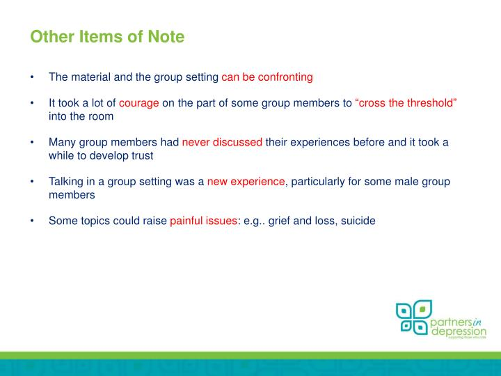 Other Items of Note