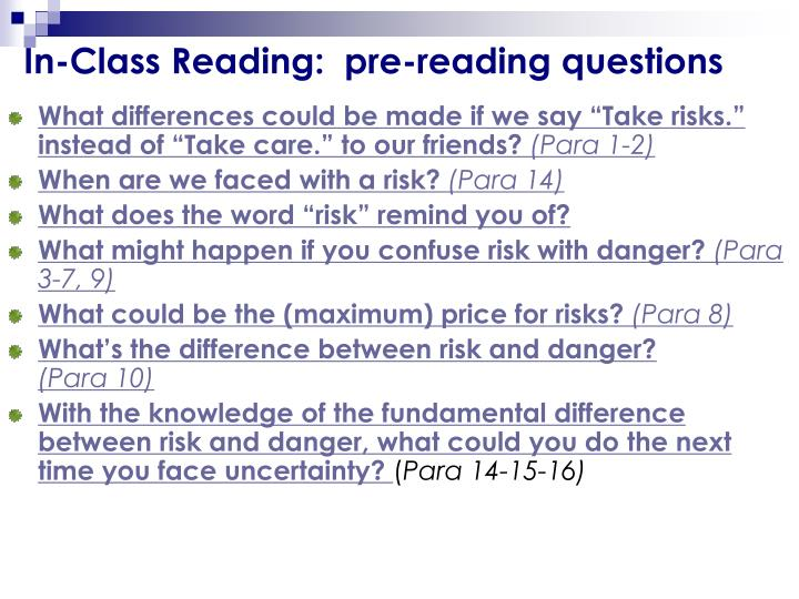In-Class Reading:  pre-reading questions