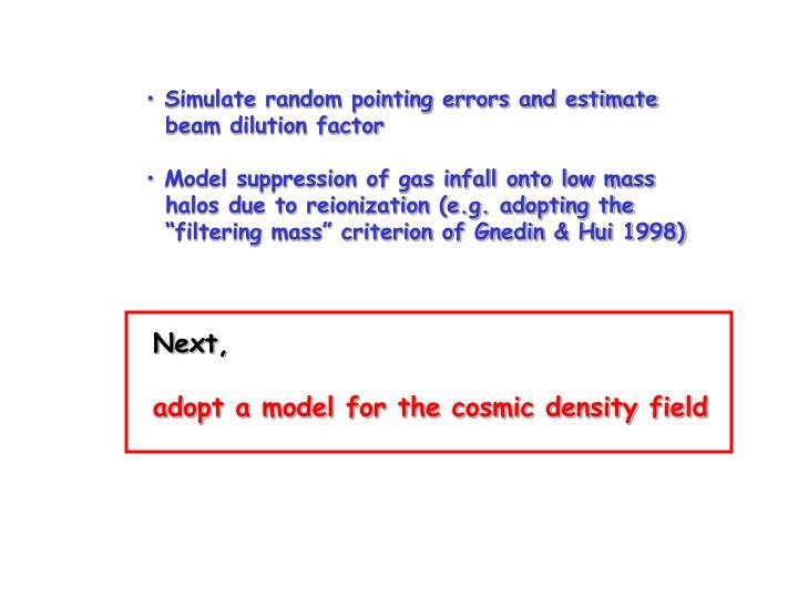 Simulate random pointing errors and estimate