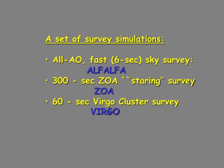 A set of survey simulations: