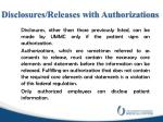 disclosures releases with authorizations