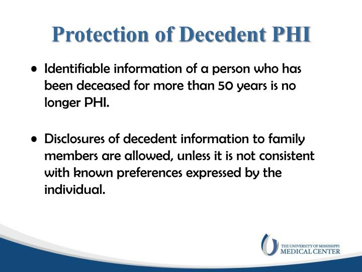 Protection of Decedent PHI