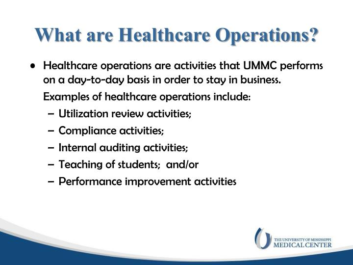 What are Healthcare Operations?