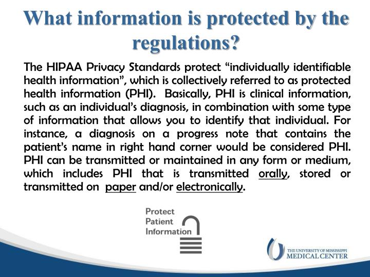 What information is protected by the regulations?