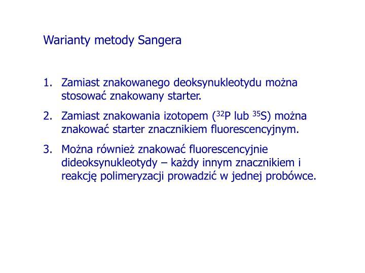 Warianty metody Sangera