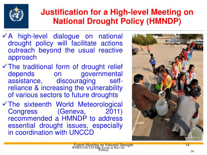 Justification for a High-level Meeting on National Drought Policy (HMNDP)