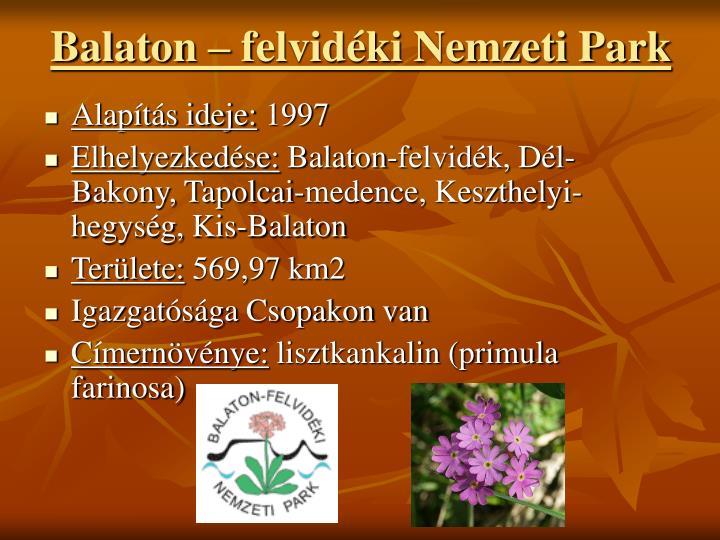 Balaton  felvidki Nemzeti Park
