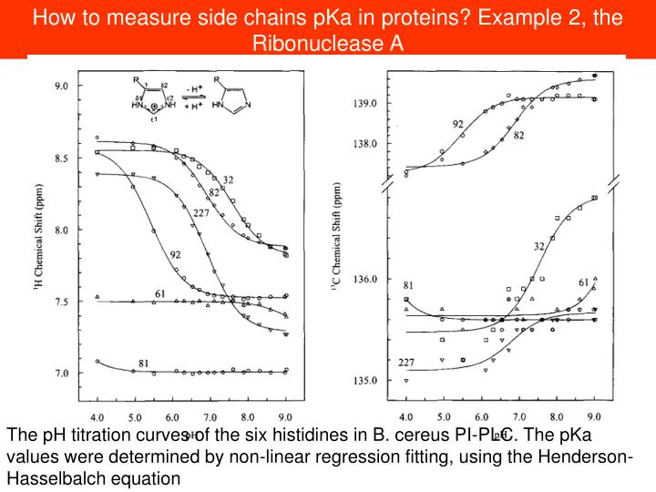 How to measure side chains pKa in proteins? Example 2, the Ribonuclease A
