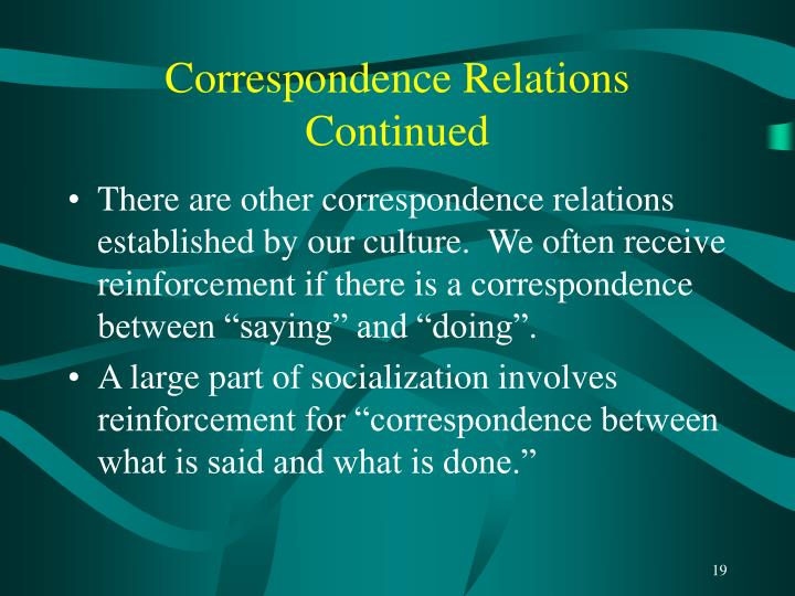 Correspondence Relations Continued