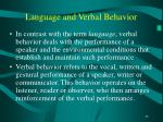 language and verbal behavior