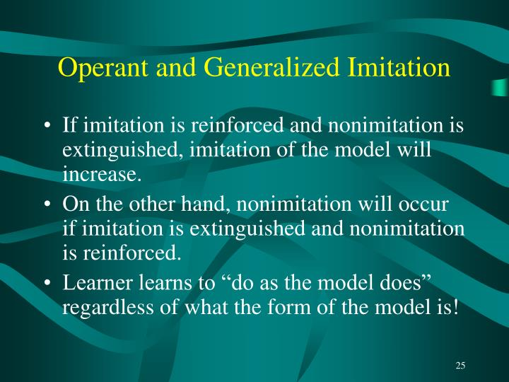 Operant and Generalized Imitation