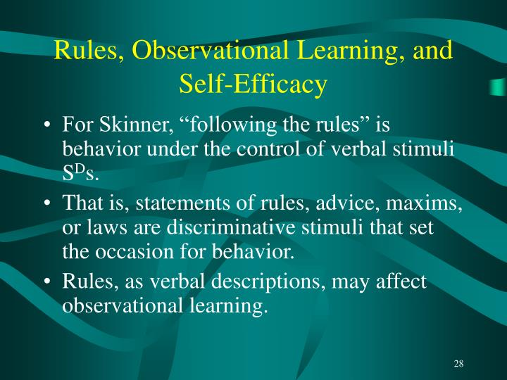 Rules, Observational Learning, and Self-Efficacy