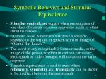 symbolic behavior and stimulus equivalence