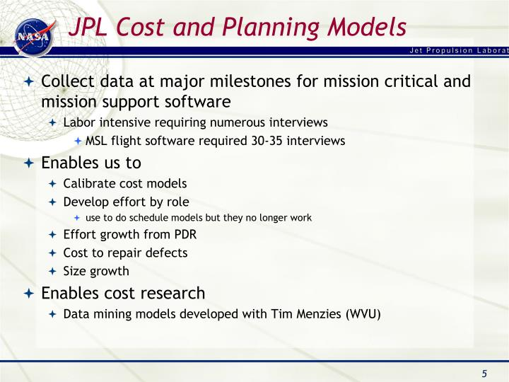 JPL Cost and Planning Models