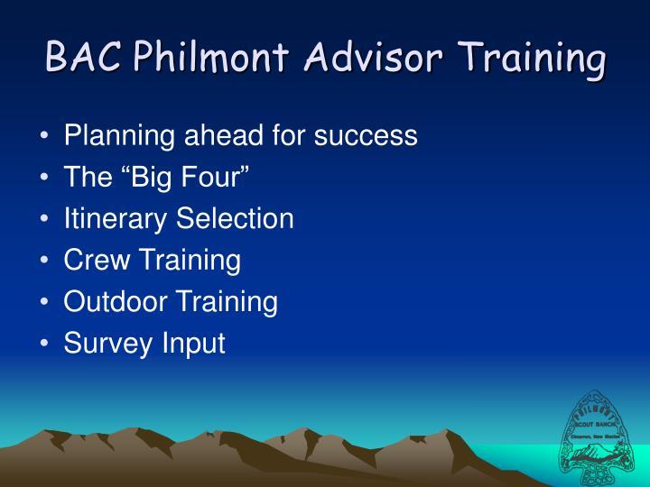 BAC Philmont Advisor Training