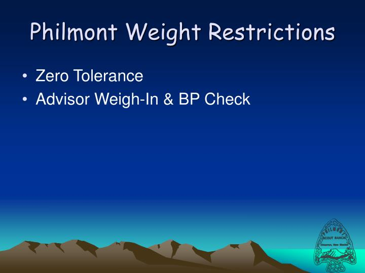 Philmont Weight Restrictions