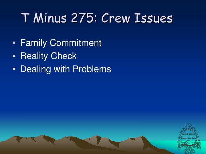 T Minus 275: Crew Issues