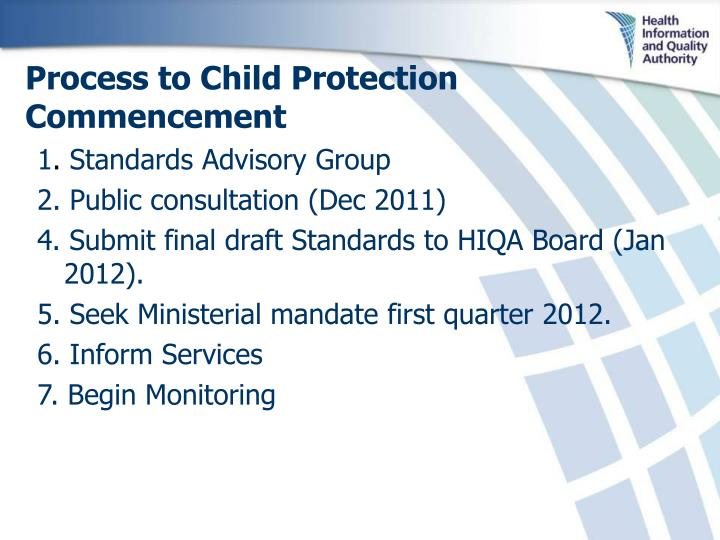Process to Child Protection Commencement