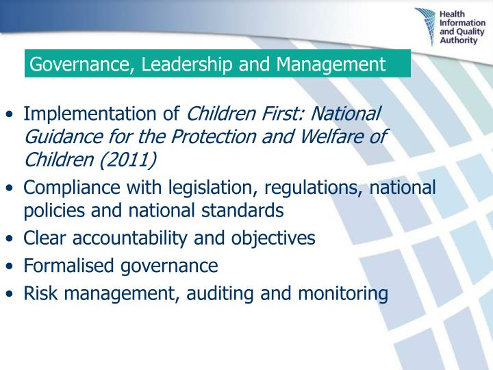 Governance, Leadership and Management