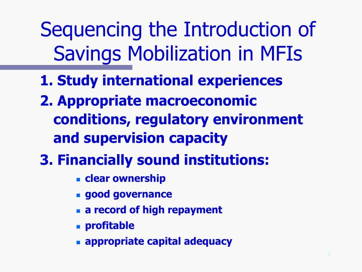 Sequencing the Introduction of Savings Mobilization in MFIs