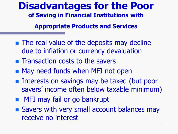 Disadvantages for the Poor