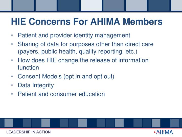 HIE Concerns For AHIMA Members
