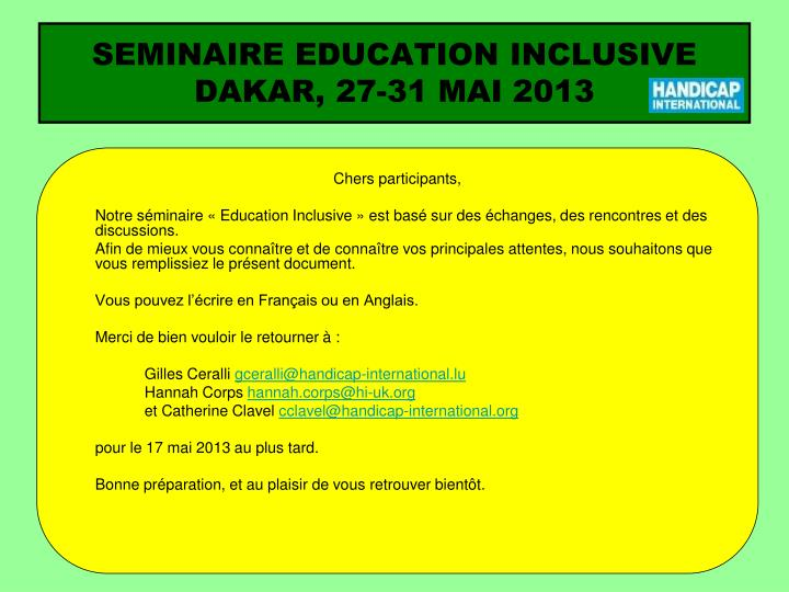 Seminaire education inclusive dakar 27 31 mai 2013